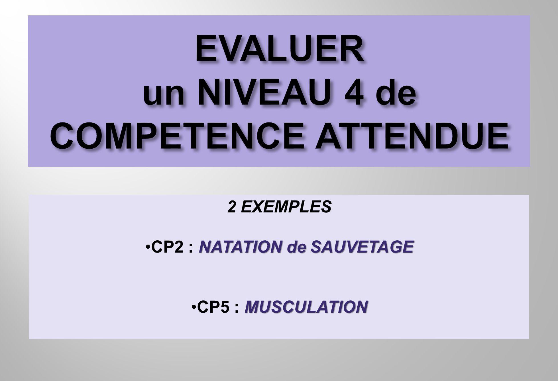 2 EXEMPLES NATATION de SAUVETAGECP2 : NATATION de SAUVETAGE MUSCULATIONCP5 : MUSCULATION
