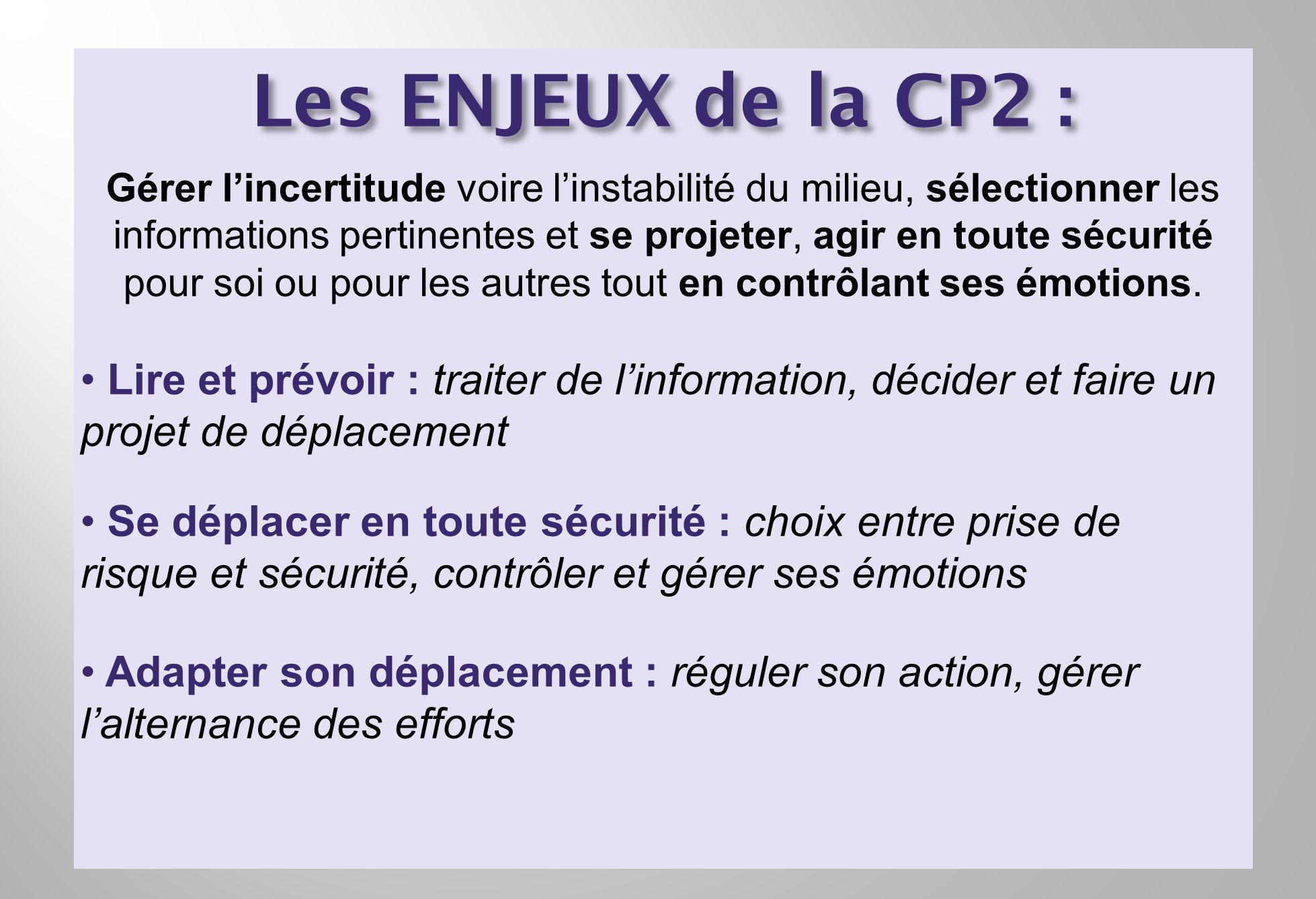 Les ENJEUX de la CP2 : Gérer lincertitude voire linstabilité du milieu, sélectionner les informations pertinentes et se projeter, agir en toute sécuri