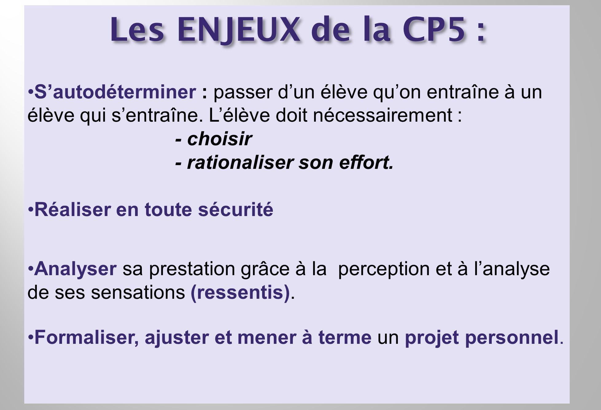 Les ENJEUX de la CP5 : Sautodéterminer : passer dun élève quon entraîne à un élève qui sentraîne. Lélève doit nécessairement : - choisir - rationalise