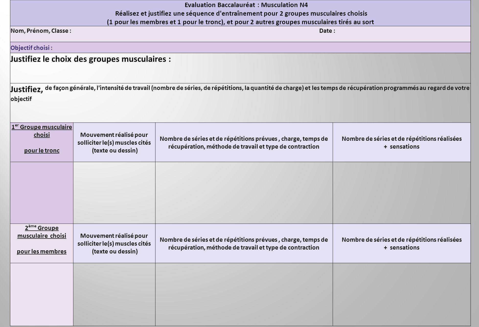 Evaluation Baccalauréat : Musculation N4 Réalisez et justifiez une séquence d'entraînement pour 2 groupes musculaires choisis (1 pour les membres et 1