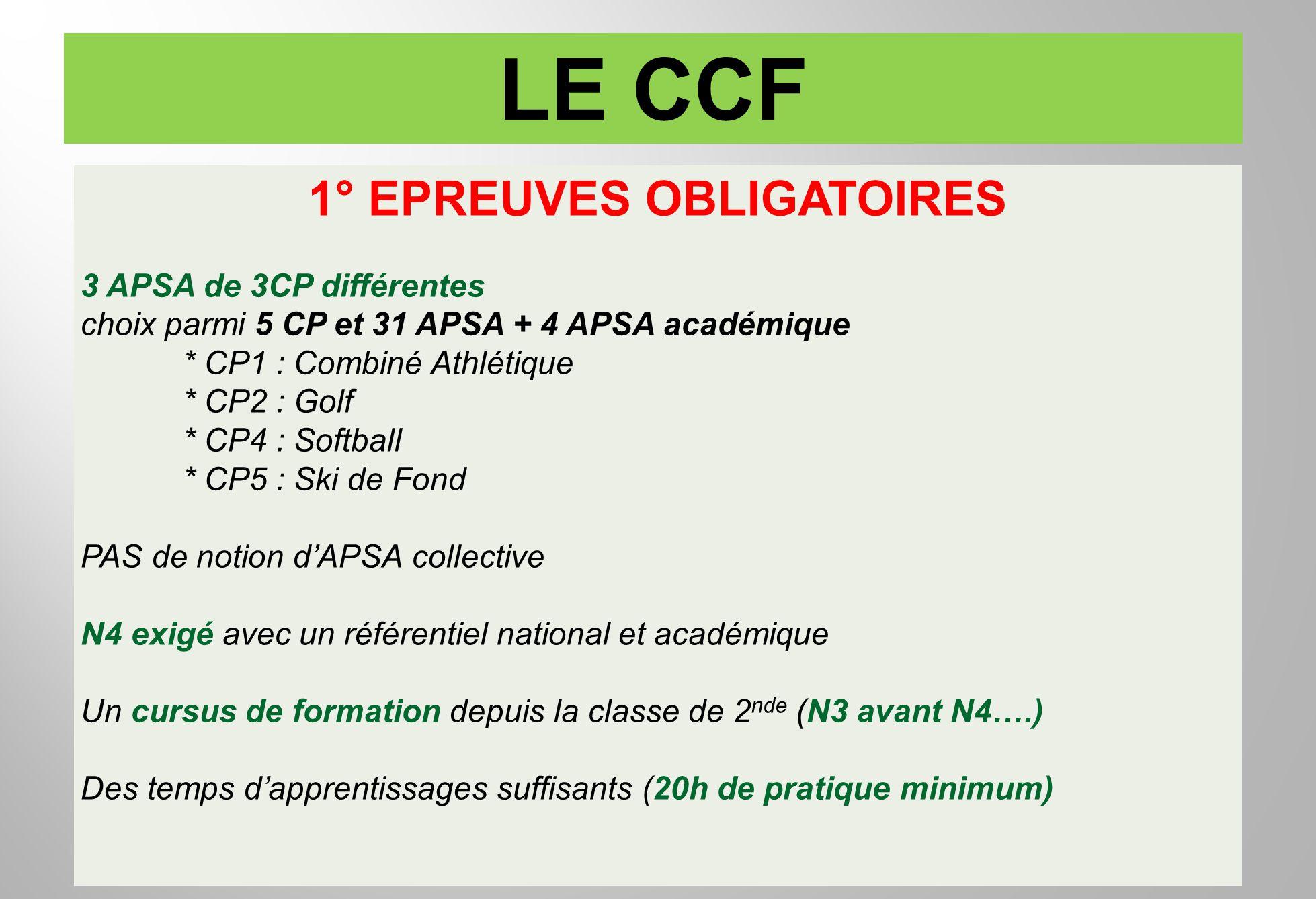 1° EPREUVES OBLIGATOIRES 3 APSA de 3CP différentes choix parmi 5 CP et 31 APSA + 4 APSA académique * CP1 : Combiné Athlétique * CP2 : Golf * CP4 : Sof