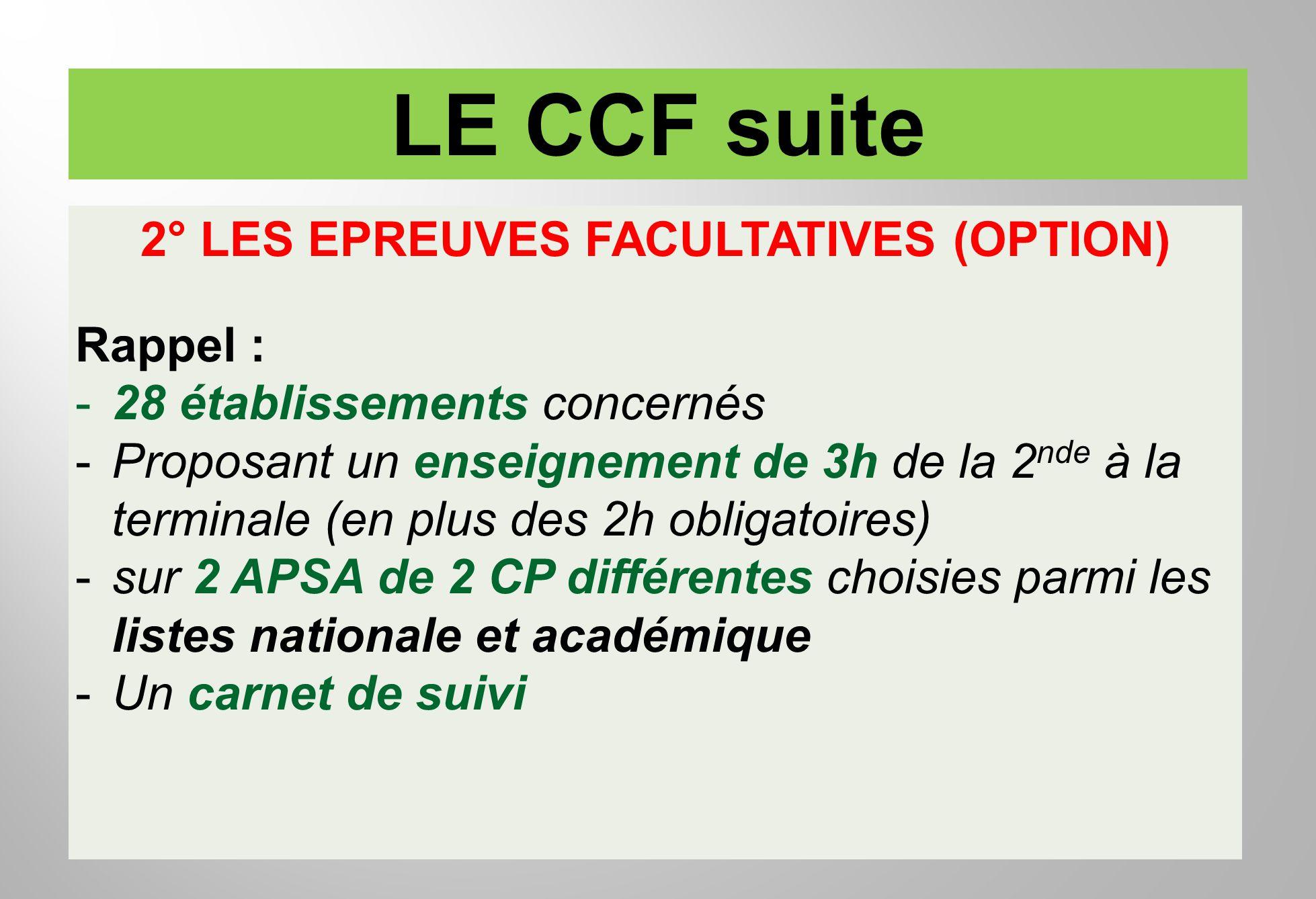 LE CCF suite 2° LES EPREUVES FACULTATIVES (OPTION) Rappel : -28 établissements concernés -Proposant un enseignement de 3h de la 2 nde à la terminale (