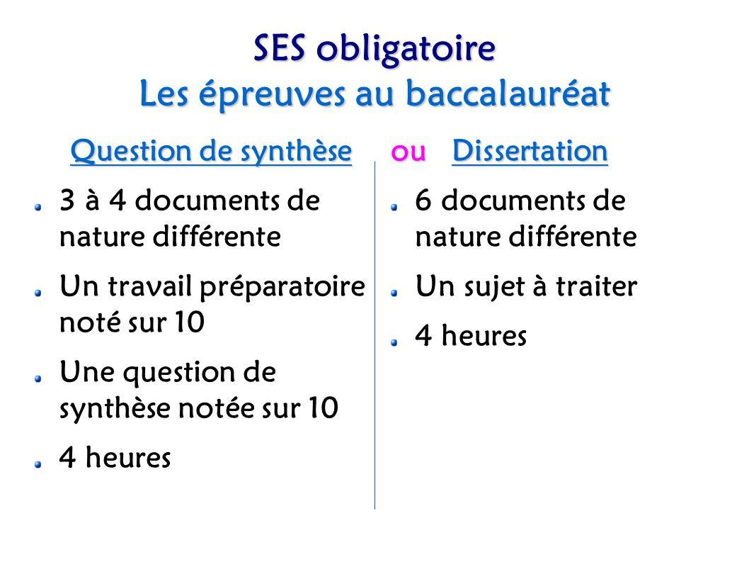 Spécialité SES L épreuve au baccalauréat Deux sujets au choix Deux documents dont un texte d auteur 3 questions à traiter 1 heure