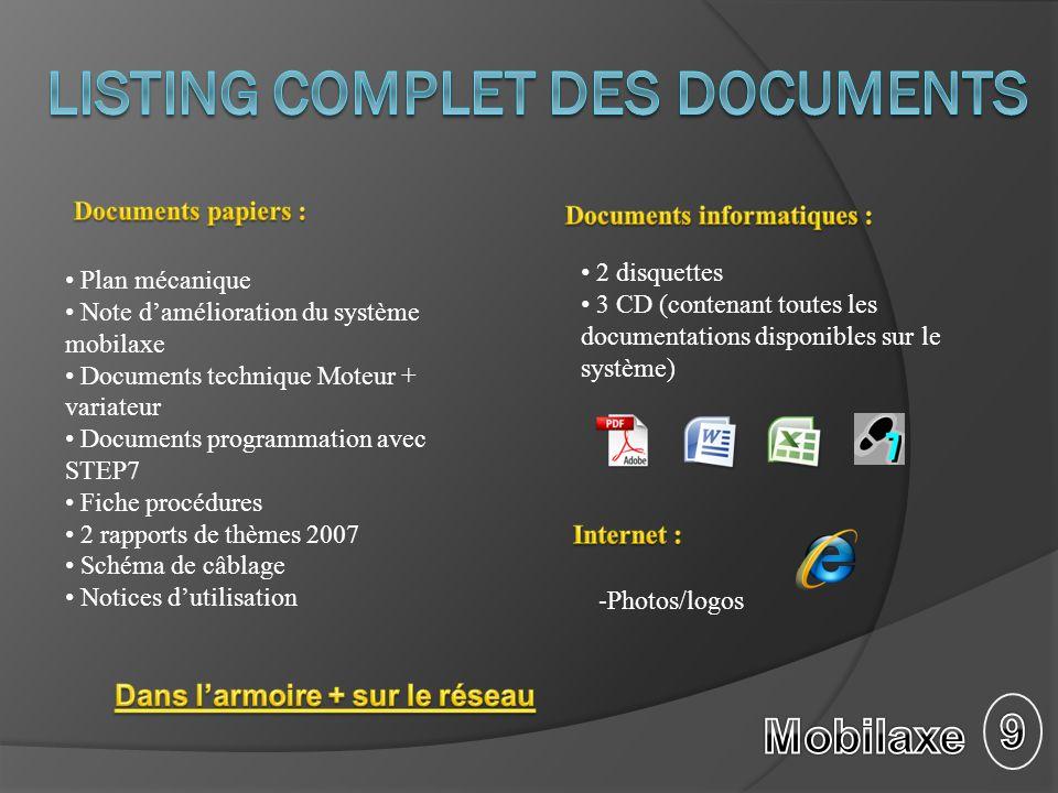 Plan mécanique Note damélioration du système mobilaxe Documents technique Moteur + variateur Documents programmation avec STEP7 Fiche procédures 2 rap
