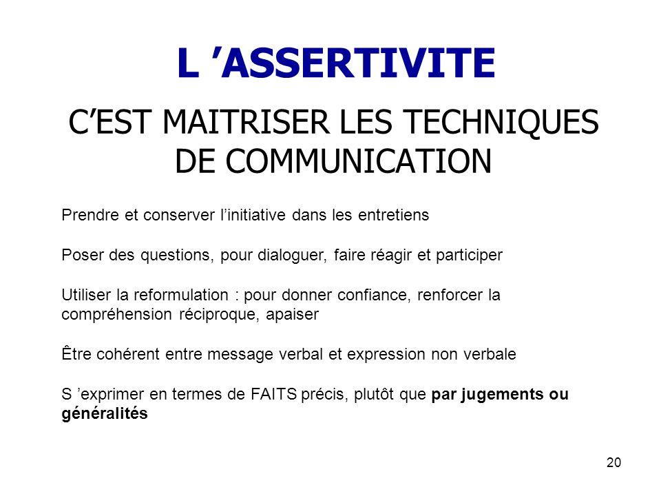 20 L ASSERTIVITE CEST MAITRISER LES TECHNIQUES DE COMMUNICATION Prendre et conserver linitiative dans les entretiens Poser des questions, pour dialogu