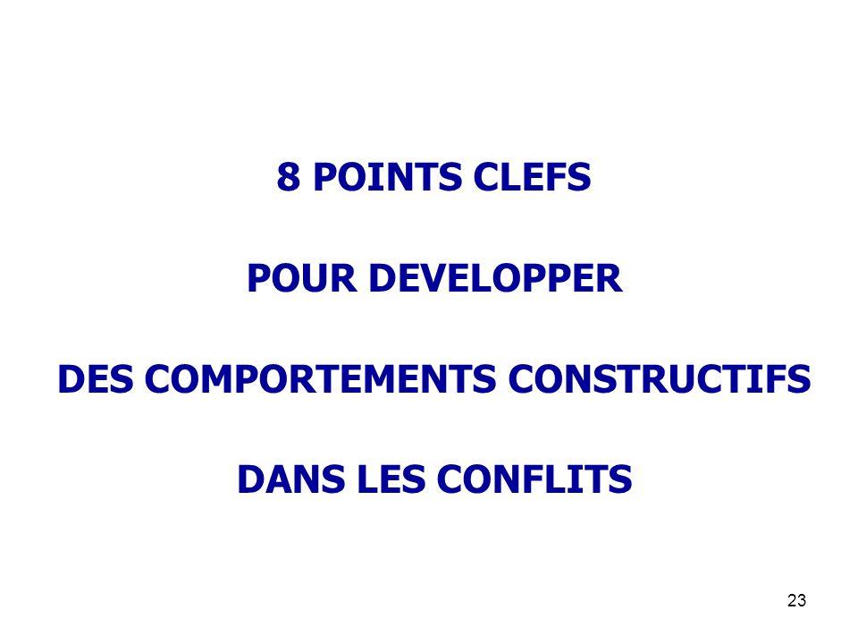23 8 POINTS CLEFS POUR DEVELOPPER DES COMPORTEMENTS CONSTRUCTIFS DANS LES CONFLITS