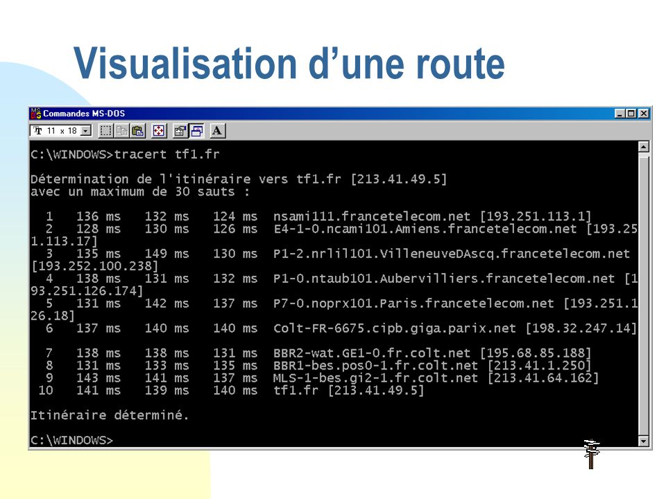 La trame éthernet 8466 2 46 à 1500 Type des données Adresse source Adresse destination Préambule de synchronisation Cheksum Données encapsulées