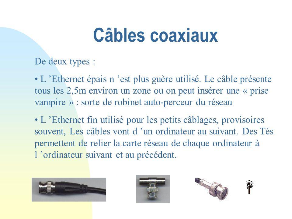 Paires torsadées Les câbles utilisés contiennent 4 paires de conducteurs dont deux seulement sont utilisées. Les prises du coté ordinateur (liaison ca