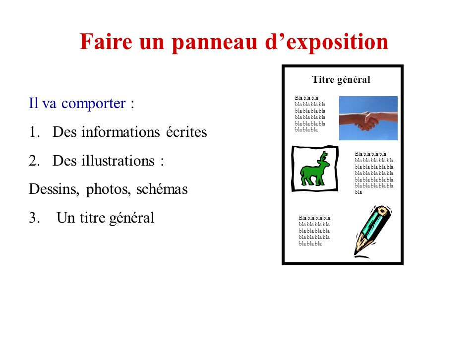 Faire un panneau dexposition Il va comporter : 1.Des informations écrites 2.Des illustrations : Dessins, photos, schémas 3.