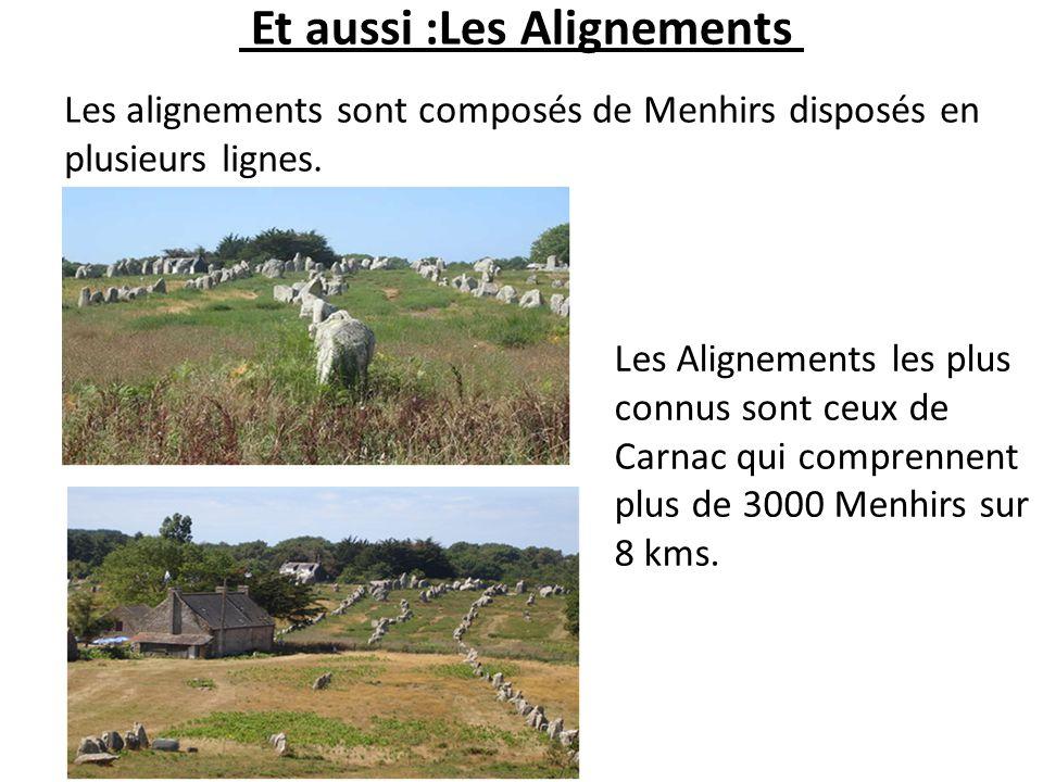 Et aussi :Les Alignements Les alignements sont composés de Menhirs disposés en plusieurs lignes. Les Alignements les plus connus sont ceux de Carnac q