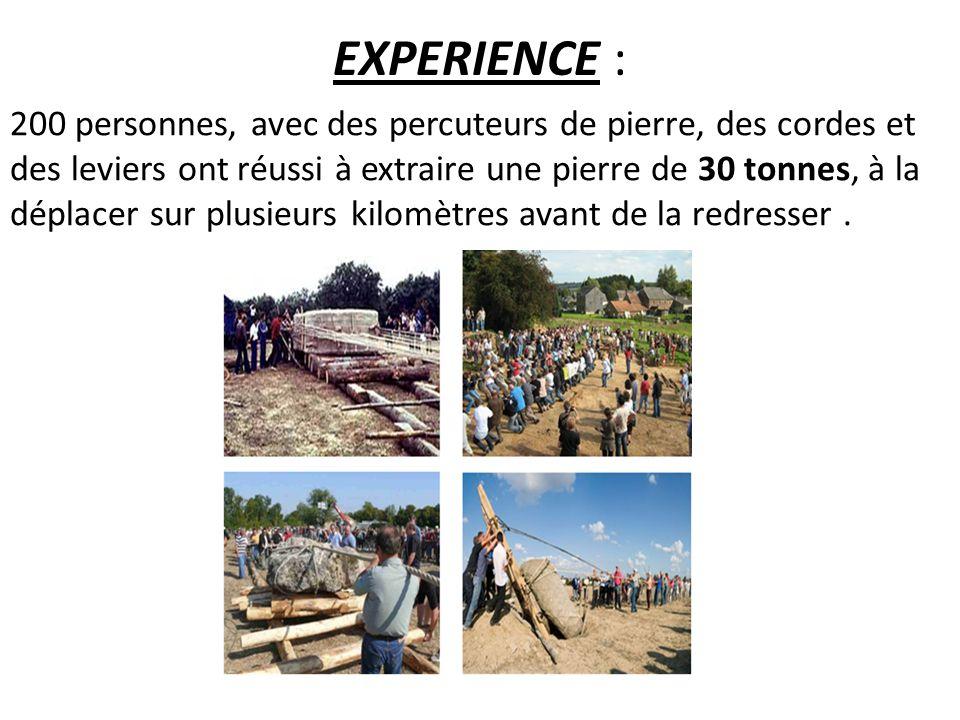 EXPERIENCE : 200 personnes, avec des percuteurs de pierre, des cordes et des leviers ont réussi à extraire une pierre de 30 tonnes, à la déplacer sur