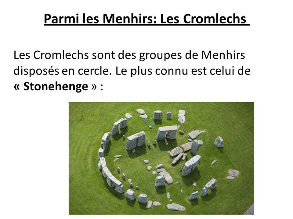 Parmi les Menhirs: Les Cromlechs Les Cromlechs sont des groupes de Menhirs disposés en cercle. Le plus connu est celui de « Stonehenge » :