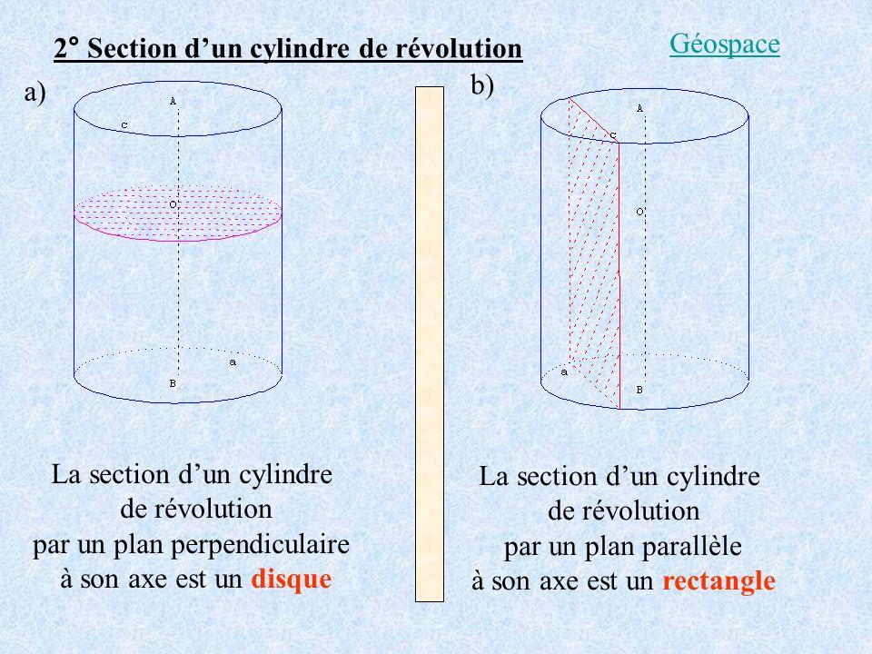 2° Section dun cylindre de révolution La section dun cylindre de révolution par un plan perpendiculaire à son axe est un disque La section dun cylindr