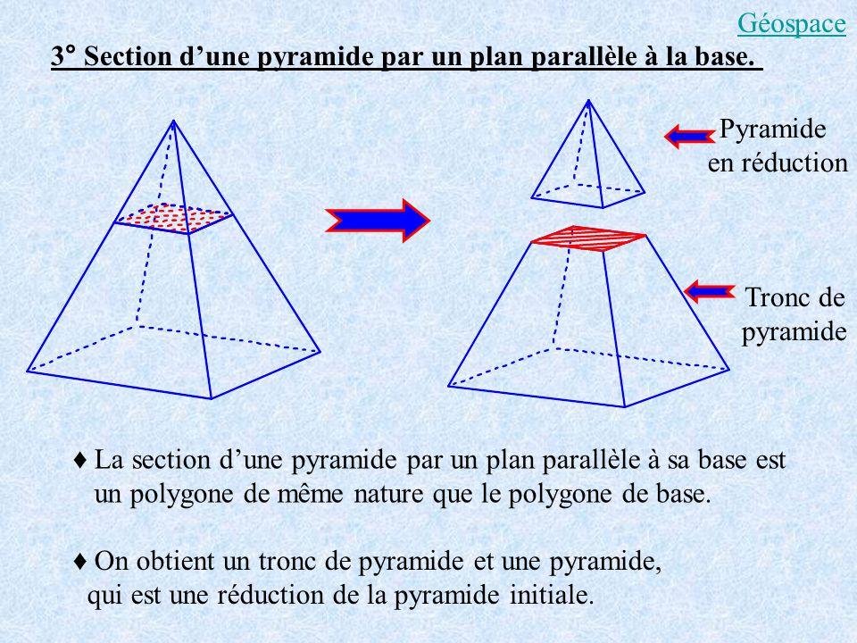 3° Section dune pyramide par un plan parallèle à la base. La section dune pyramide par un plan parallèle à sa base est un polygone de même nature que
