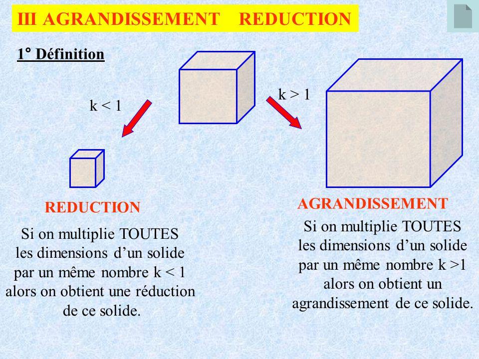 III AGRANDISSEMENT REDUCTION 1° Définition Si on multiplie TOUTES les dimensions dun solide par un même nombre k >1 alors on obtient un agrandissement