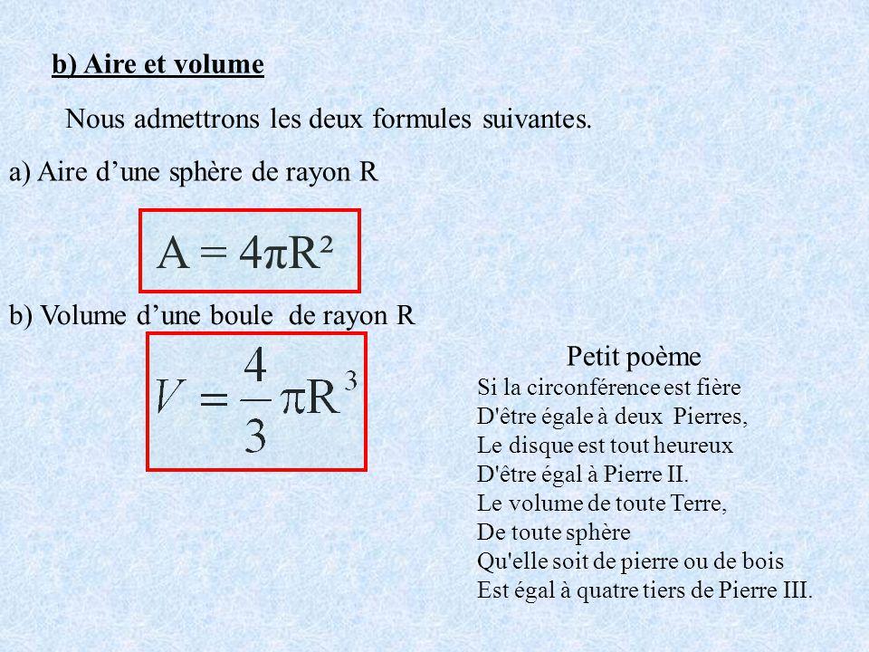 b) Aire et volume Nous admettrons les deux formules suivantes. a) Aire dune sphère de rayon R A = 4πR² b) Volume dune boule de rayon R Si la circonfér
