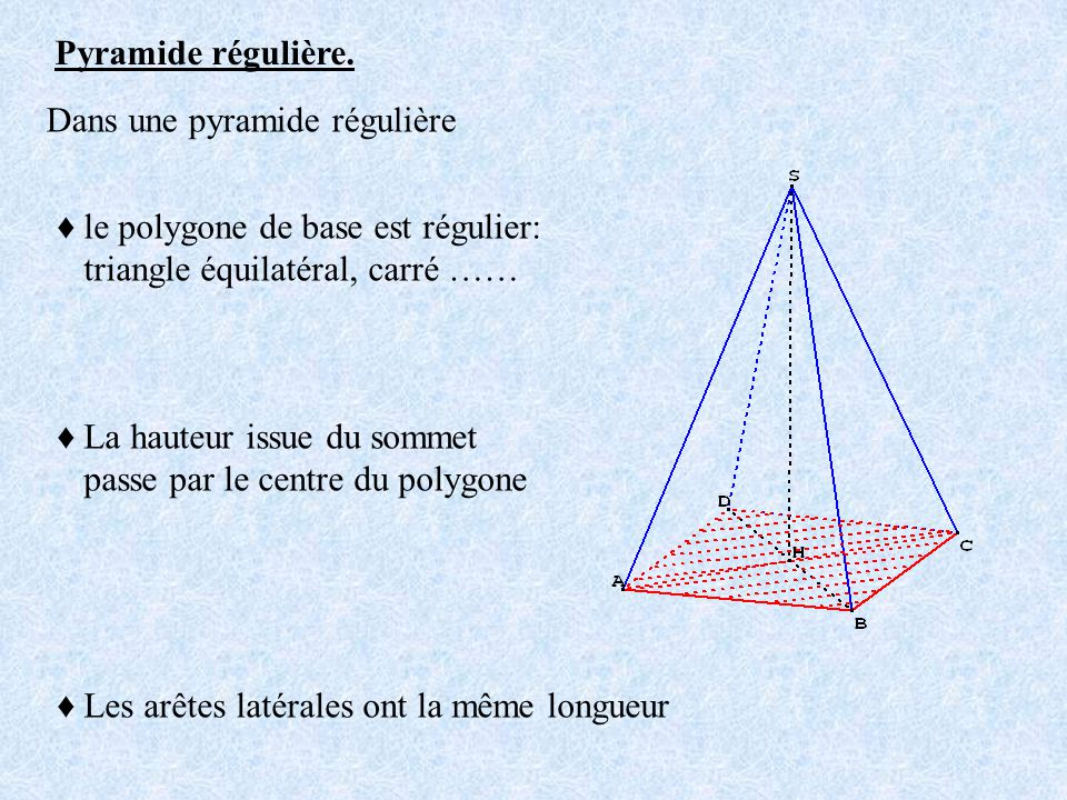 Pyramide régulière. le polygone de base est régulier: triangle équilatéral, carré …… La hauteur issue du sommet passe par le centre du polygone Les ar