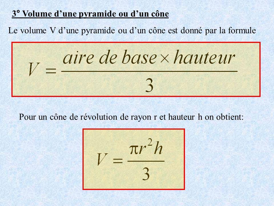 3° Volume dune pyramide ou dun cône Le volume V dune pyramide ou dun cône est donné par la formule Pour un cône de révolution de rayon r et hauteur h