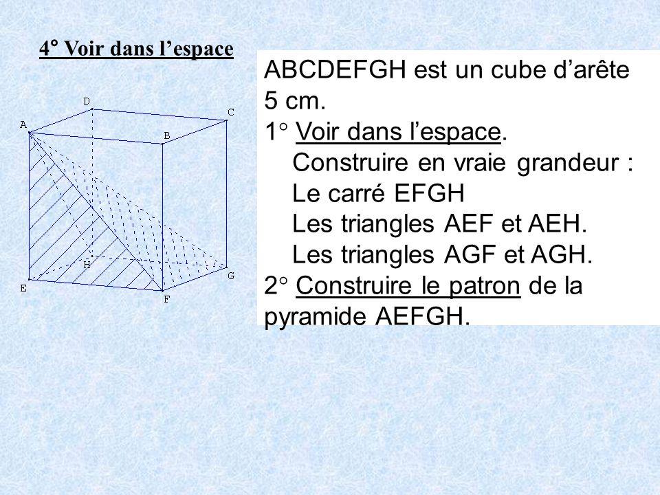4° Voir dans lespace ABCDEFGH est un cube darête 5 cm. 1° Voir dans lespace. Construire en vraie grandeur : Le carré EFGH Les triangles AEF et AEH. Le