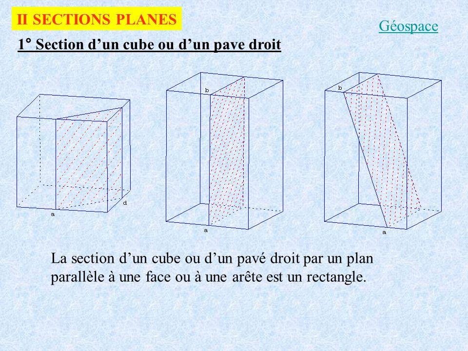 2° Section dun cylindre de révolution La section dun cylindre de révolution par un plan perpendiculaire à son axe est un disque La section dun cylindre de révolution par un plan parallèle à son axe est un rectangle a) b) Géospace