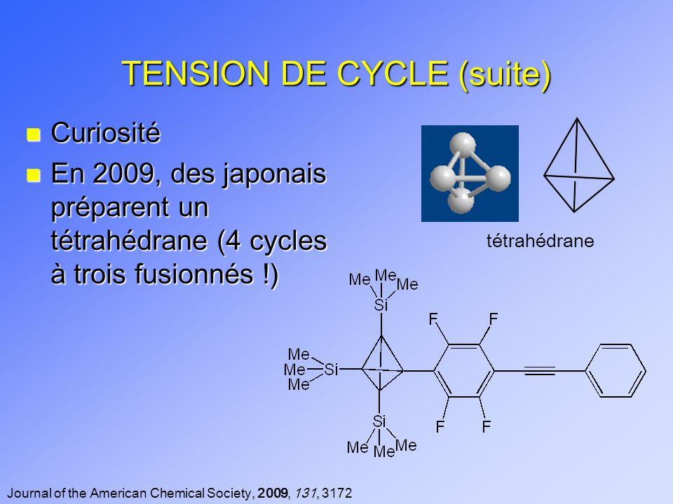 TENSION DE CYCLE (suite) n Curiosité n En 2009, des japonais préparent un tétrahédrane (4 cycles à trois fusionnés !) Journal of the American Chemical Society, 2009, 131, 3172 tétrahédrane