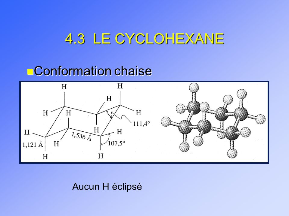 4.3 LE CYCLOHEXANE n Conformation chaise Aucun H éclipsé