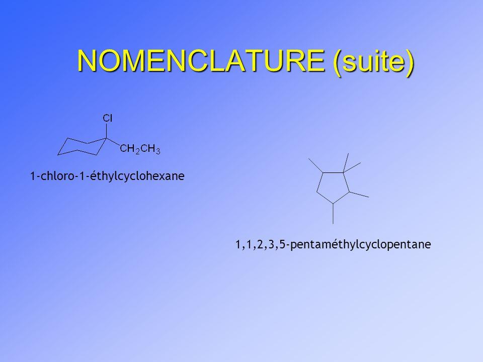 NOMENCLATURE (suite) 1-chloro-1-éthylcyclohexane 1,1,2,3,5-pentaméthylcyclopentane