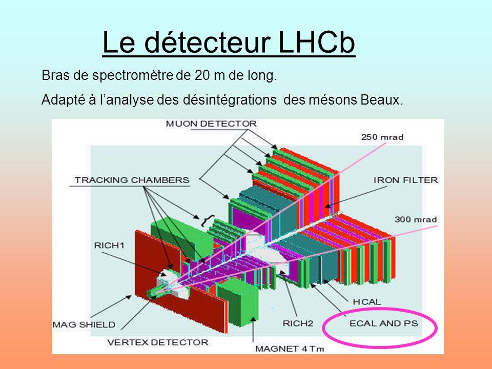 Le détecteur LHCb Bras de spectromètre de 20 m de long. Adapté à lanalyse des désintégrations des mésons Beaux.