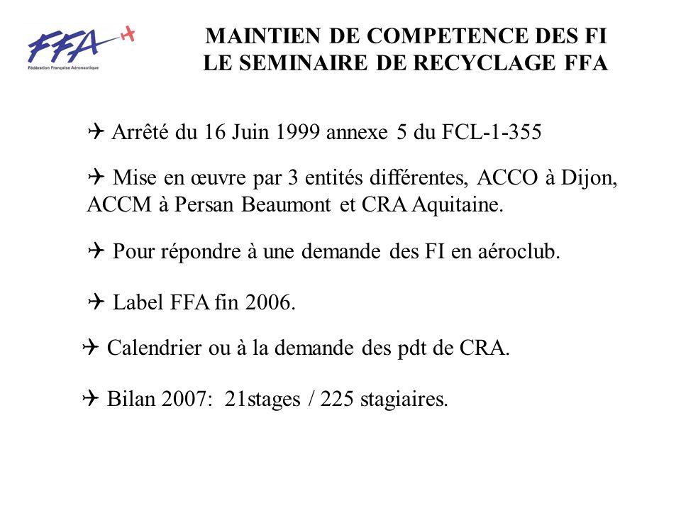 MAINTIEN DE COMPETENCE DES FI LE SEMINAIRE DE RECYCLAGE FFA Arrêté du 16 Juin 1999 annexe 5 du FCL-1-355 Mise en œuvre par 3 entités différentes, ACCO