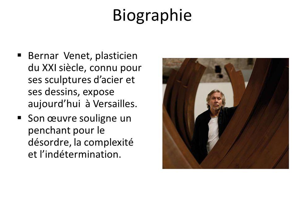 Biographie Bernar Venet, plasticien du XXI siècle, connu pour ses sculptures dacier et ses dessins, expose aujourdhui à Versailles.