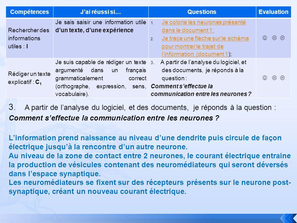 CompétencesJai réussi si…QuestionsEvaluation Rechercher des informations utiles : I Je sais saisir une information utile dun texte, dune expérience 1.