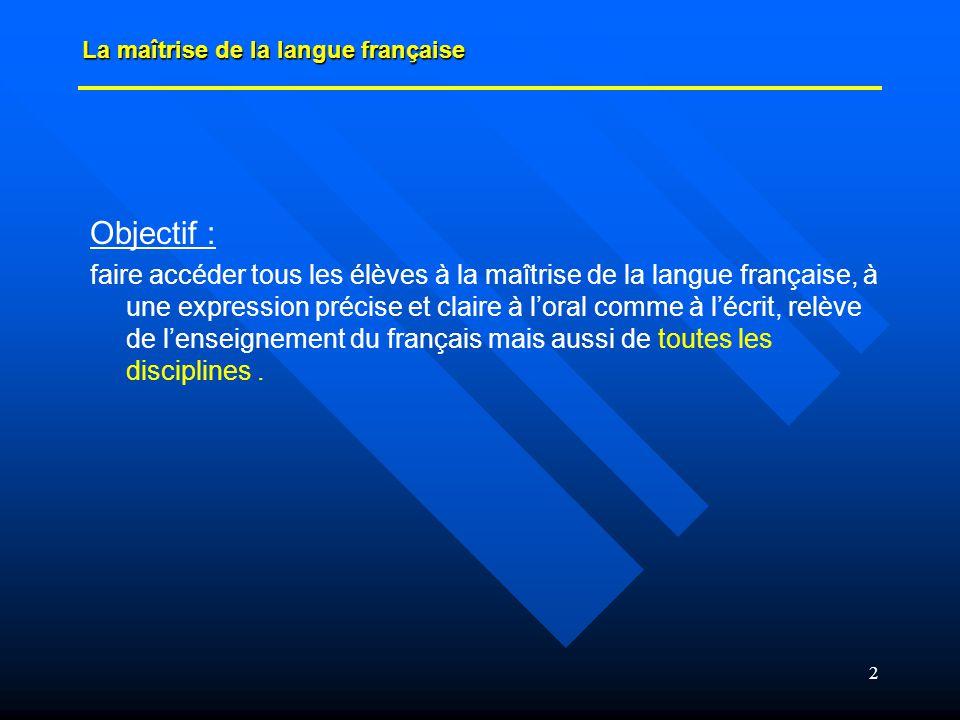 2 Objectif : faire accéder tous les élèves à la maîtrise de la langue française, à une expression précise et claire à loral comme à lécrit, relève de