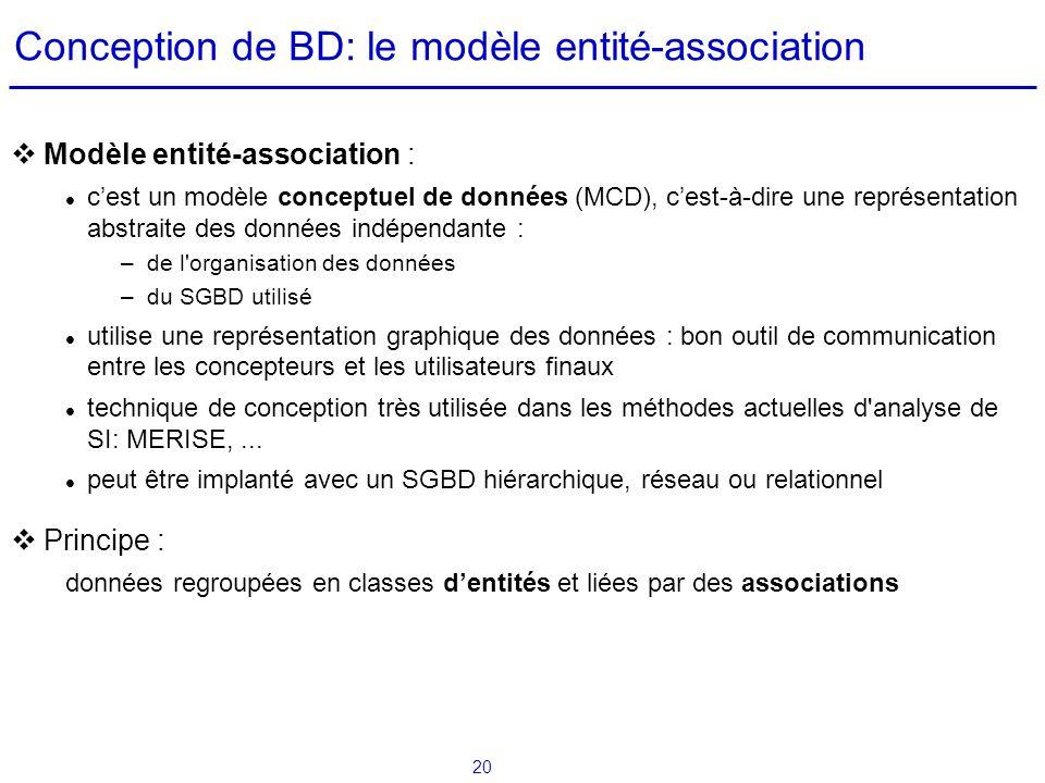 20 Conception de BD: le modèle entité-association Modèle entité-association : cest un modèle conceptuel de données (MCD), cest-à-dire une représentati
