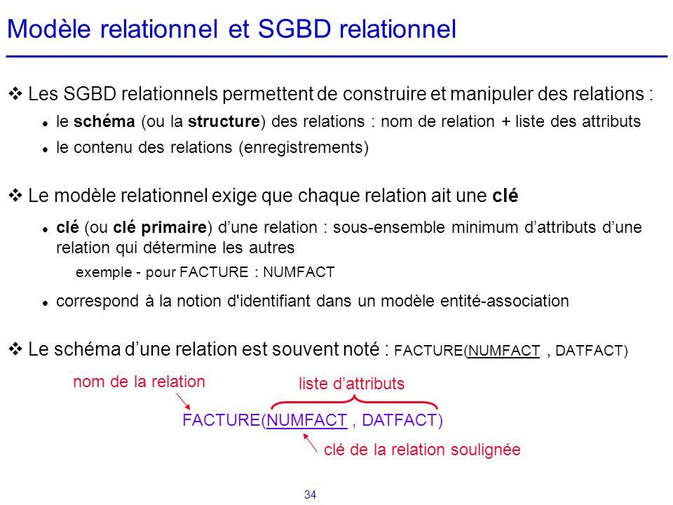 34 Modèle relationnel et SGBD relationnel Les SGBD relationnels permettent de construire et manipuler des relations : le schéma (ou la structure) des