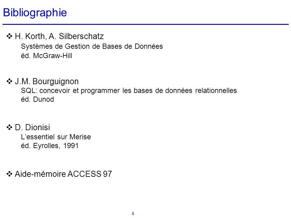 4 Bibliographie H. Korth, A. Silberschatz Systèmes de Gestion de Bases de Données éd. McGraw-Hill J.M. Bourguignon SQL: concevoir et programmer les ba