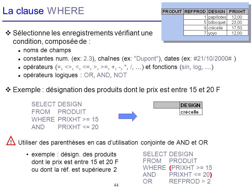 44 La clause WHERE Sélectionne les enregistrements vérifiant une condition, composée de : noms de champs constantes num. (ex: 2.3), chaînes (ex: