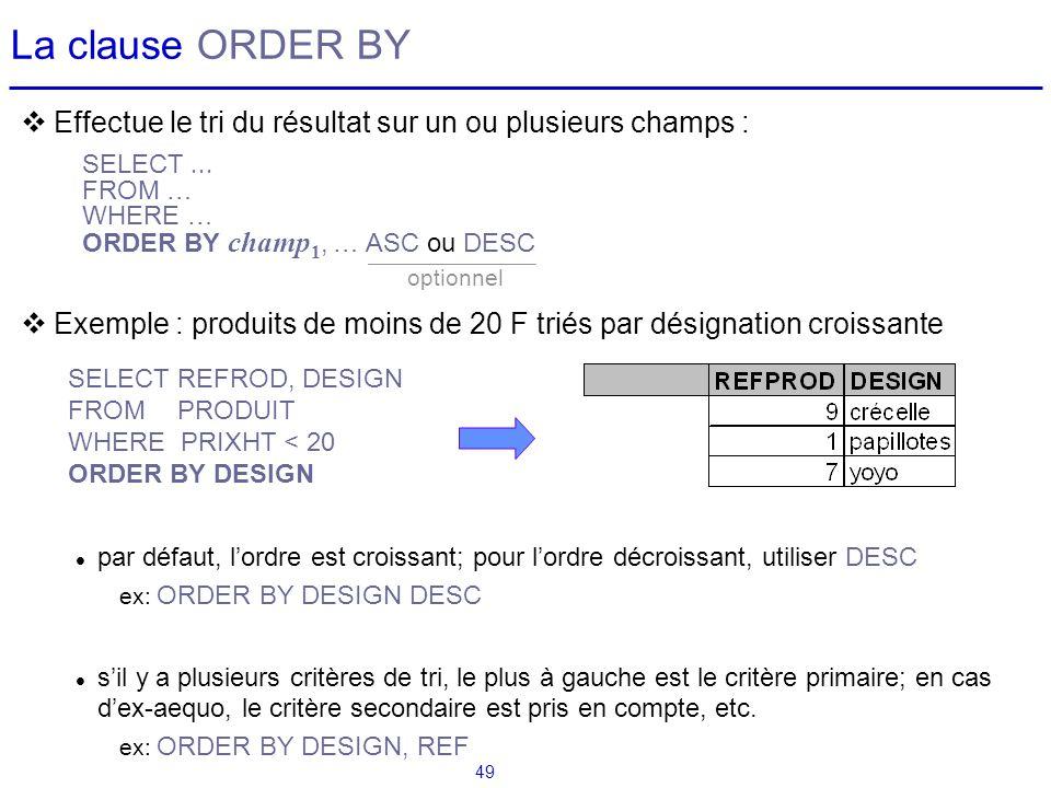 49 La clause ORDER BY Effectue le tri du résultat sur un ou plusieurs champs : Exemple : produits de moins de 20 F triés par désignation croissante pa
