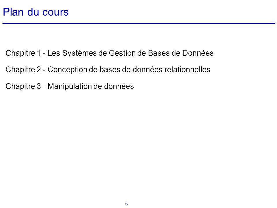 5 Plan du cours Chapitre 1 - Les Systèmes de Gestion de Bases de Données Chapitre 2 - Conception de bases de données relationnelles Chapitre 3 - Manip