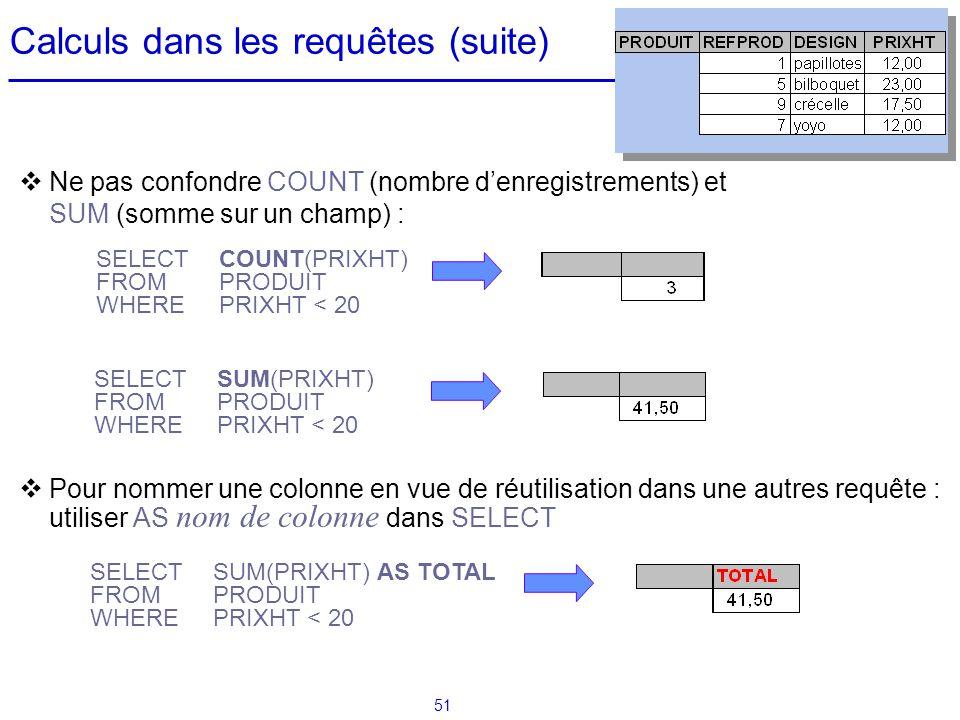 51 Calculs dans les requêtes (suite) Ne pas confondre COUNT (nombre denregistrements) et SUM (somme sur un champ) : Pour nommer une colonne en vue de