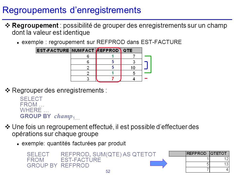 52 Regroupements denregistrements Regroupement : possibilité de grouper des enregistrements sur un champ dont la valeur est identique exemple : regrou