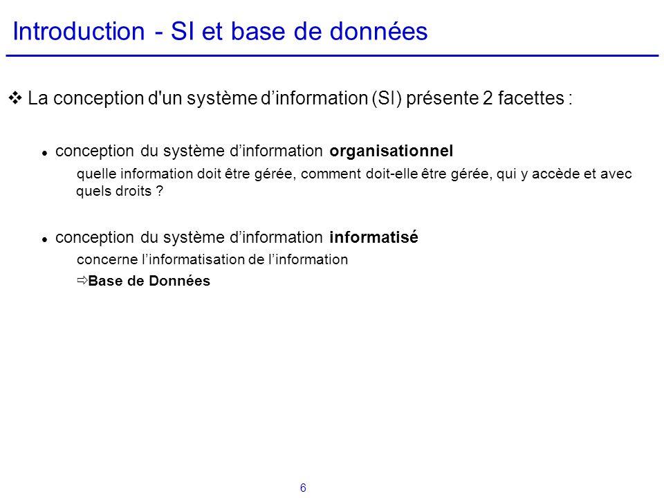 6 Introduction - SI et base de données La conception d'un système dinformation (SI) présente 2 facettes : conception du système dinformation organisat