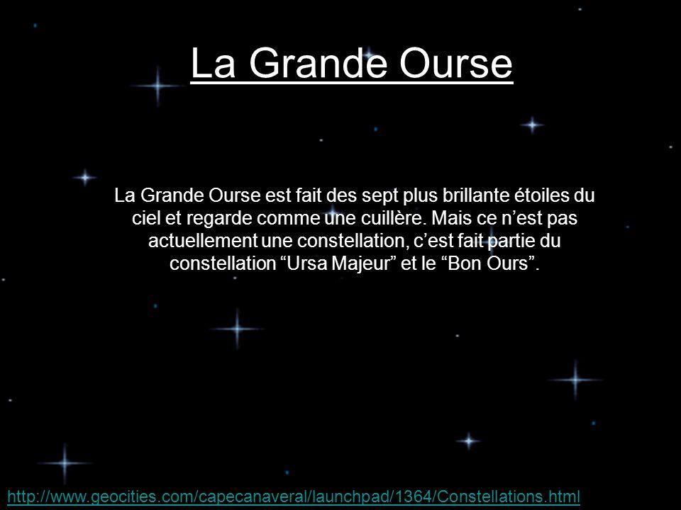 La Grande Ourse est fait des sept plus brillante étoiles du ciel et regarde comme une cuillère.