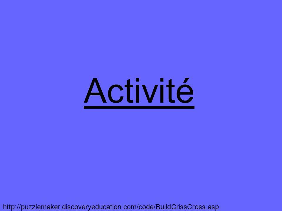 Activité http://puzzlemaker.discoveryeducation.com/code/BuildCrissCross.asp
