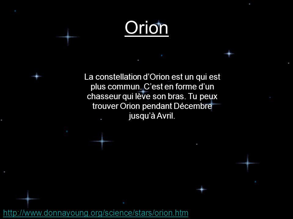 Les constellations que tu peux trouver dans le ciel en Canada et lhémisphère Nord pendant lhiver sont…