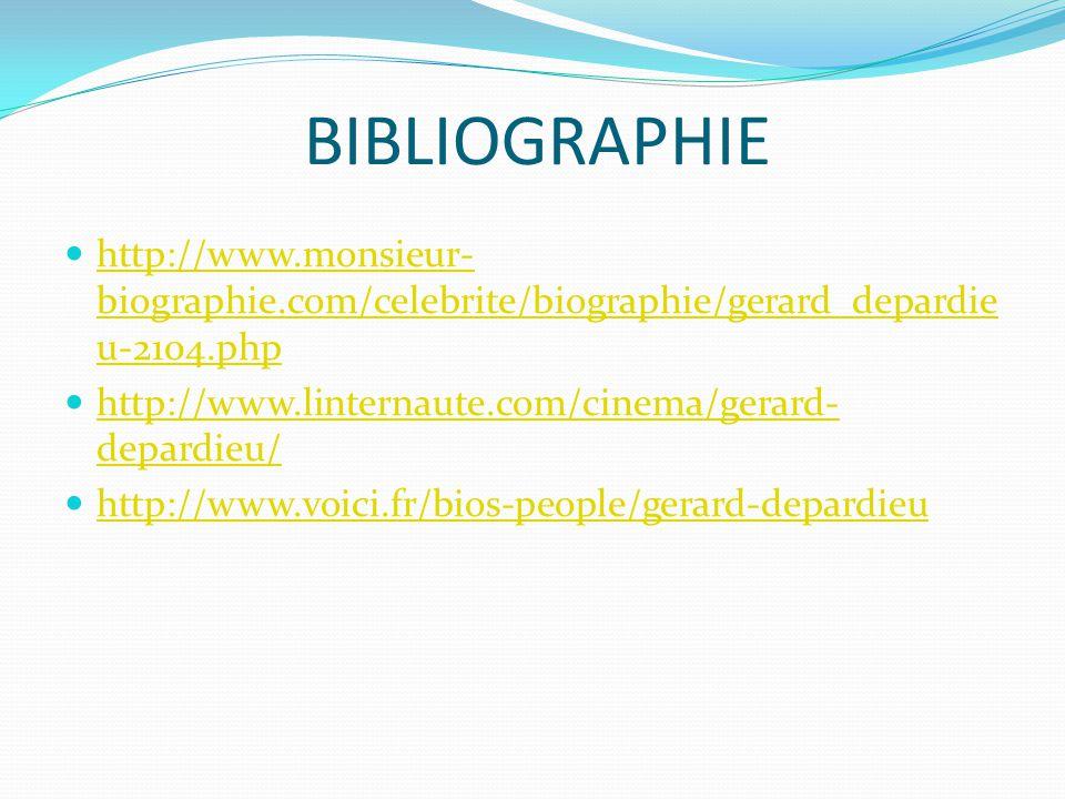 BIBLIOGRAPHIE http://www.monsieur- biographie.com/celebrite/biographie/gerard_depardie u-2104.php http://www.monsieur- biographie.com/celebrite/biographie/gerard_depardie u-2104.php http://www.linternaute.com/cinema/gerard- depardieu/ http://www.linternaute.com/cinema/gerard- depardieu/ http://www.voici.fr/bios-people/gerard-depardieu