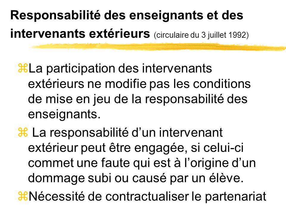 Responsabilité des enseignants et des intervenants extérieurs (circulaire du 3 juillet 1992) zLa participation des intervenants extérieurs ne modifie pas les conditions de mise en jeu de la responsabilité des enseignants.