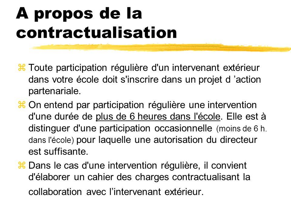 A propos de la contractualisation zToute participation régulière d un intervenant extérieur dans votre école doit s inscrire dans un projet d action partenariale.