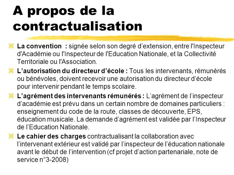 A propos de la contractualisation zLa convention : signée selon son degré dextension, entre l'Inspecteur d'Académie ou l'Inspecteur de l'Education Nat