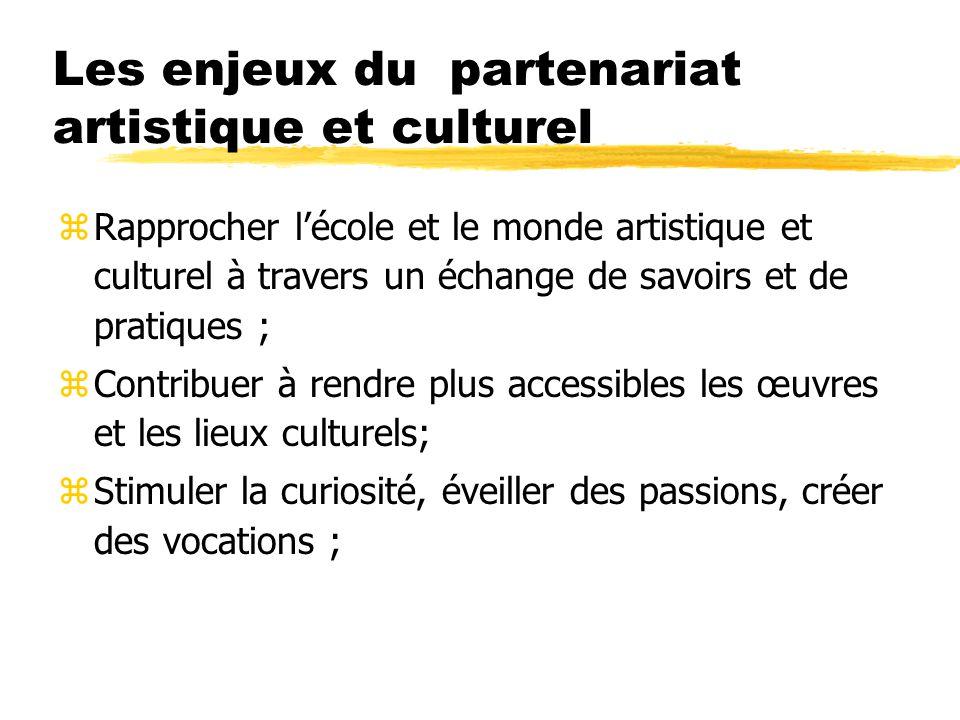 Les enjeux du partenariat artistique et culturel zRapprocher lécole et le monde artistique et culturel à travers un échange de savoirs et de pratiques ; zContribuer à rendre plus accessibles les œuvres et les lieux culturels; zStimuler la curiosité, éveiller des passions, créer des vocations ;