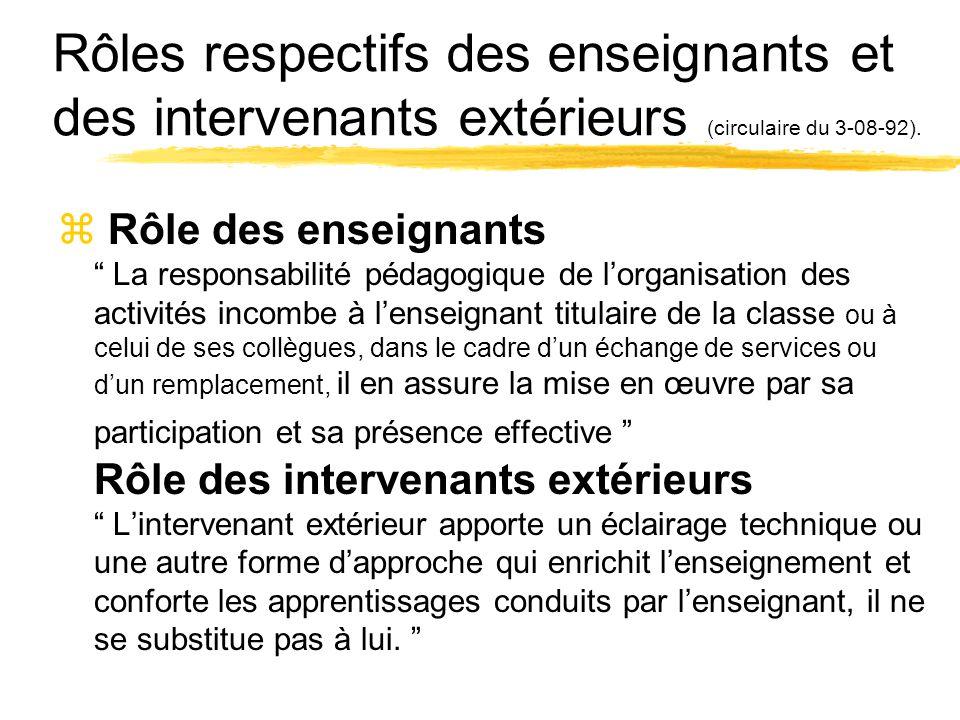 Rôles respectifs des enseignants et des intervenants extérieurs (circulaire du 3-08-92).